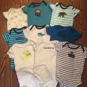9 Carters short sleeve onesies